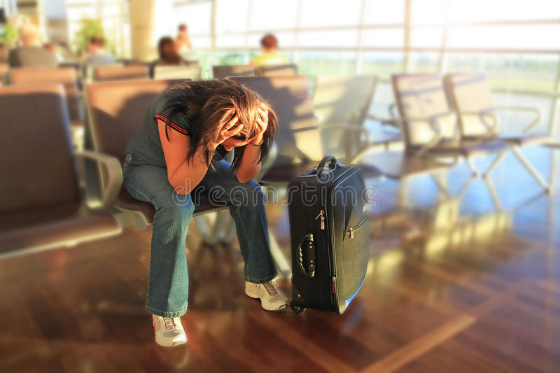 Download Depressed Woman Awaiting For Plane Stock Photo - Image: 23845936
