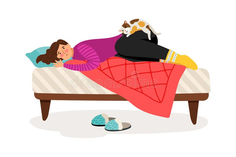 Depressed woman and cat stock illustration