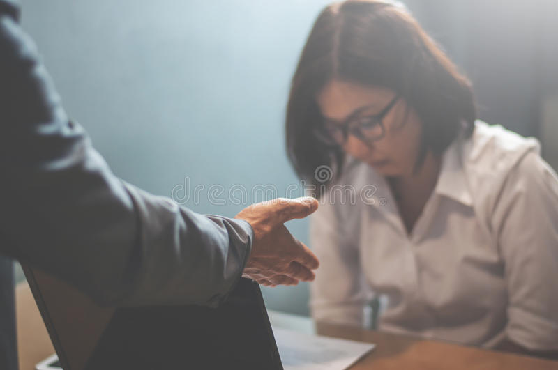 Depressed of Woman employee for mistake her job. Businessman or royalty free stock images