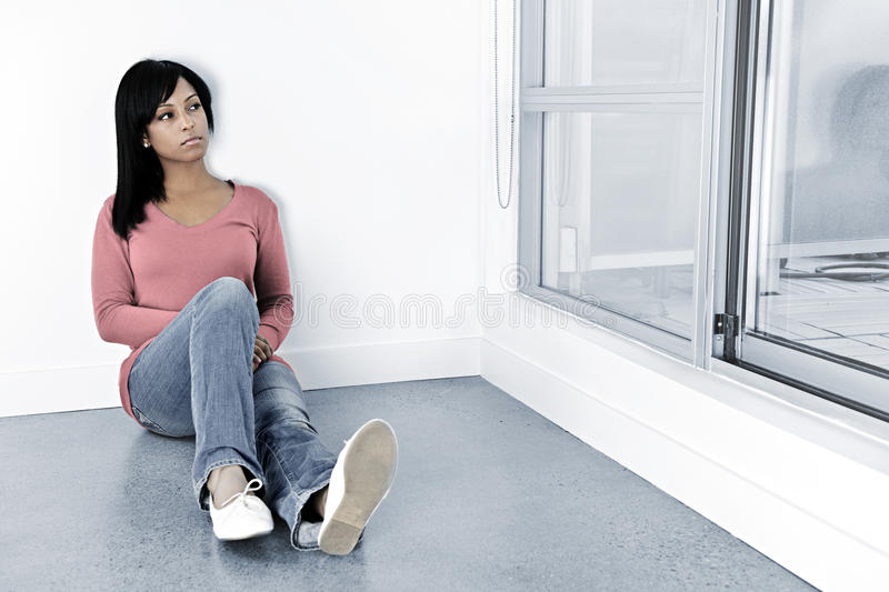 Download Depressed Woman Sitting On The Floor Stock Photo - Image: 16755736