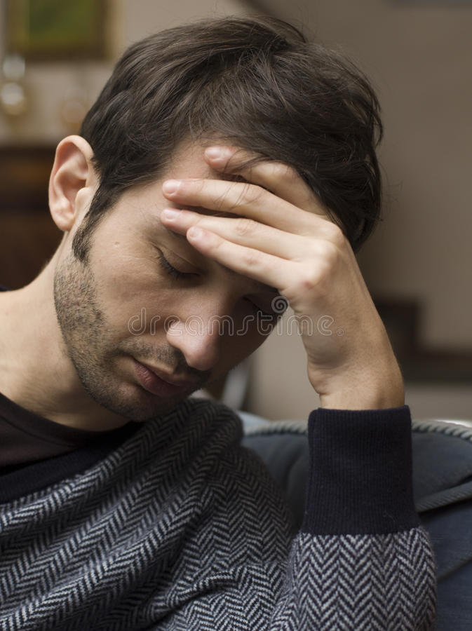 Depressed young man royalty free stock photos