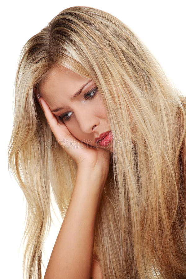 Depressed young woman stock image