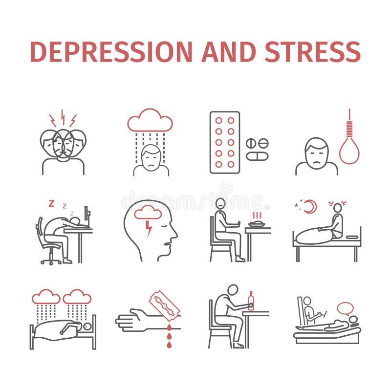 Depressie infographic Symptomen, Behandeling Geplaatste lijnpictogrammen Vectortekens voor Webgrafiek stock illustratie