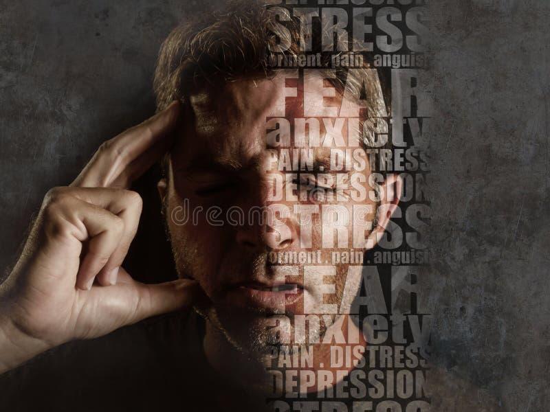 Depressiesamenstelling met woorden zoals pijn en bezorgdheid in gezicht van de jonge droevige mens wordt samengesteld die spannin royalty-vrije stock afbeelding