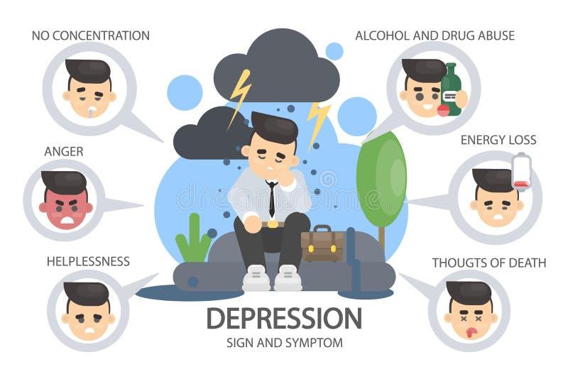 Depressietekens en symptomen stock illustratie