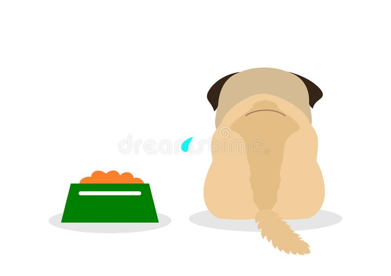 Depressing small dog won`t eat vector illustration