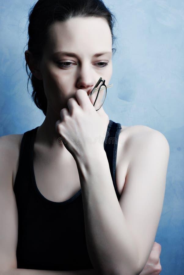 Download Depression stock image. Image of stress, brunette, glasses - 8471651
