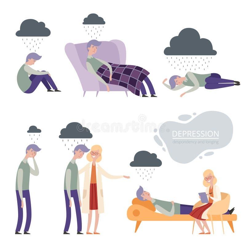 depression Caráter frustrante apenas infeliz do vetor, sono deprimido só, terapia do psicólogo ilustração stock
