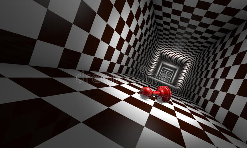 Depression (chess metaphors). Little red pawn in the chess tunnel. The space and infinity. Available in high-resolution and several sizes to fit the needs of royalty free illustration