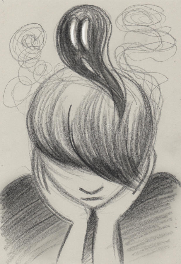 Depression concept artwork. Depressed sad teenager with dark thoughts, concept artwork stock illustration