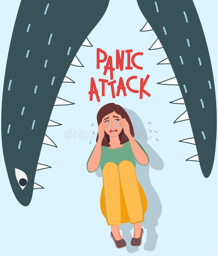 Depression. She cries and she`s scared. Bad mood, pessimism. The fear in the jaws of the monster. Trouble, mental disorder Vector. The girl has a panic attack vector illustration