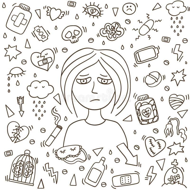 Depression girl doodles. Heartbreak doodle. Sad girl royalty free illustration