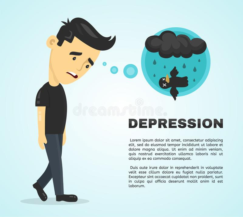 Depression infographic concept. Vector flat. Cartoon illustration icon design poster. Sad melancholy young man character vector illustration
