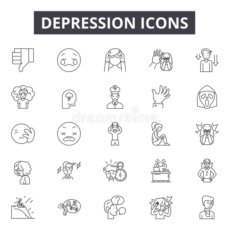 Depression line icons for web and mobile design. Editable stroke signs. Depression  outline concept illustrations vector illustration