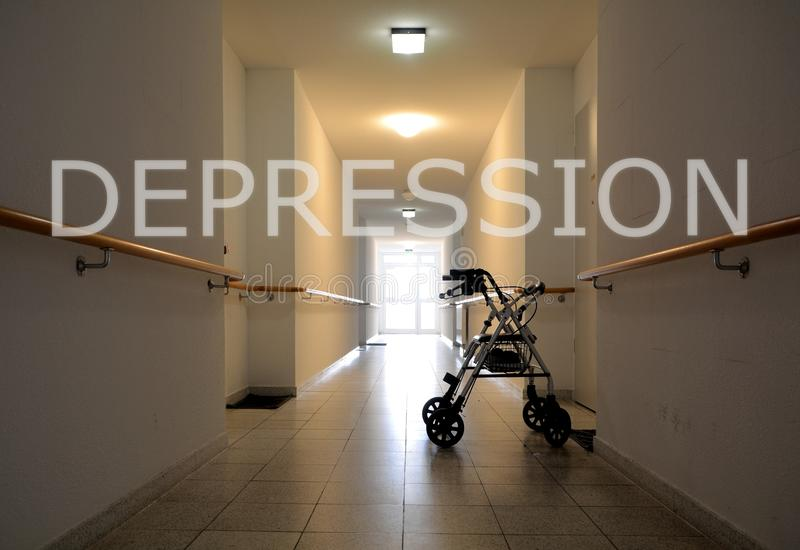 Depression. In a nursing home in Magdeburg stock photography