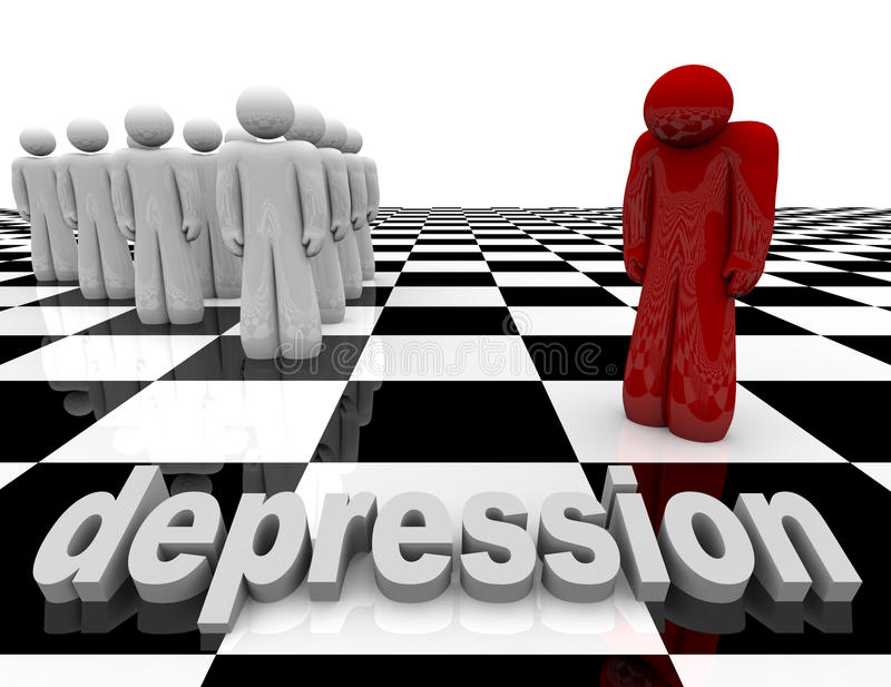 Depression - One Person Stands Alone stock illustration