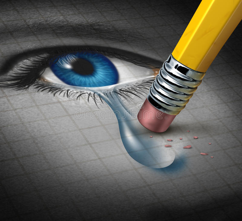 Depression Relief. And conquering mental adversity with a pencil eraser removing a tear drop from a close up of a human face and eye as a concept of emotional vector illustration