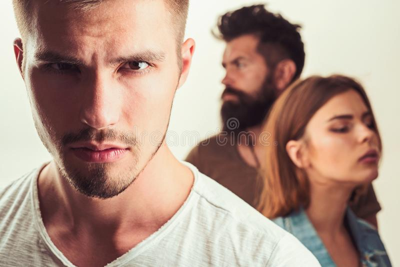 Depression and suicidal tendencies family psychologist therapy. Hopes and wishes. club for people with problems. girl. With two men. Love relations of people royalty free stock images