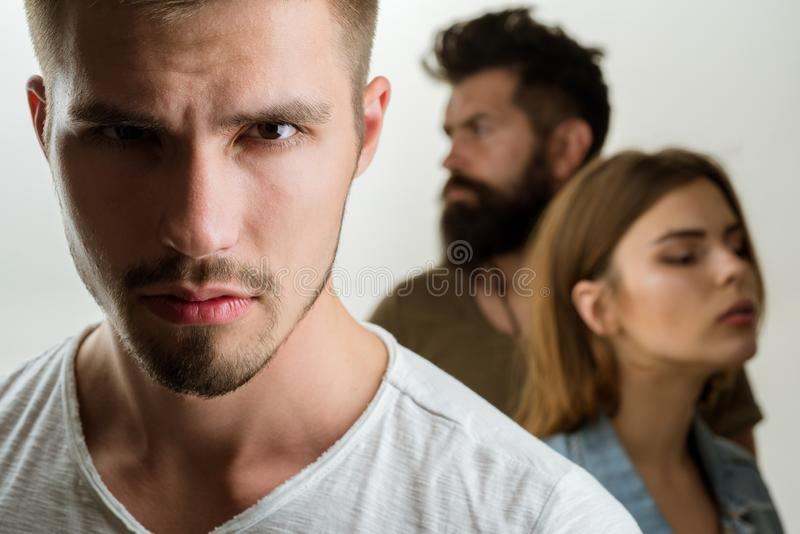 Depression and suicidal tendencies family psychologist therapy. Hopes and wishes. club for people with problems. girl. With two men. Love relations of people stock photo