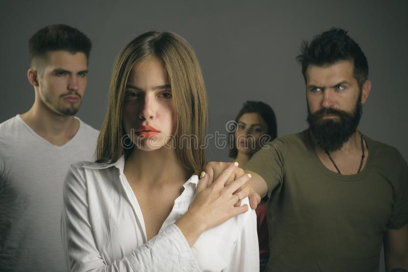 Depression and suicidal tendencies Hopes and wishes. girls with two men. Love relations of people. family psychologist. Therapy. club for people with problems stock photos
