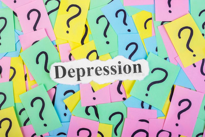 Depression Syndrome text on colorful sticky notes Against the background of question marks.  royalty free stock photography