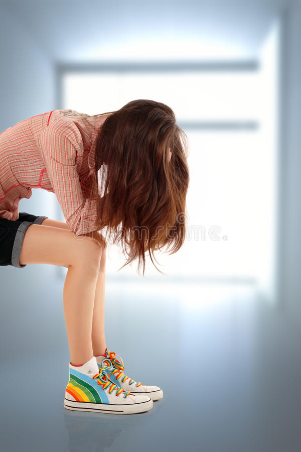 Depression teen girl cried lonely. In room royalty free stock image