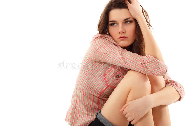Depression teen girl cried lonely. Isolated on white background stock photo