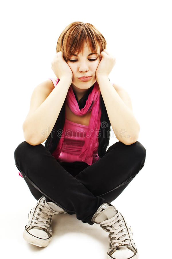 Depression Teen Girl Cried Lonely Royalty Free Stock Photography