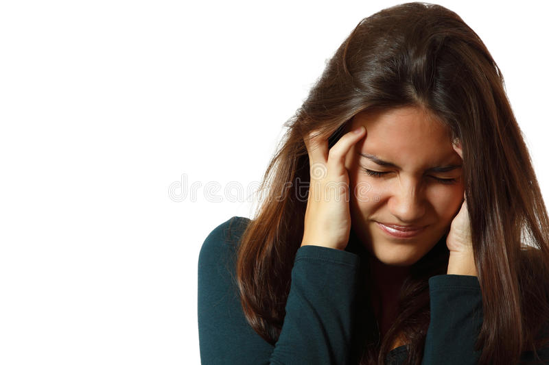 Depression teen girl cried lonely. Isolated on white background stock image