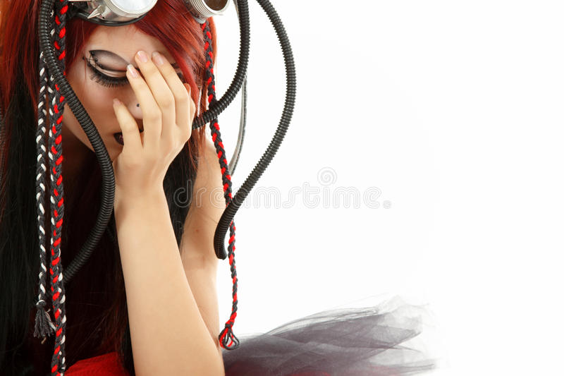 Depression teen girl informal ciber punk cried lonely isolated o. N white background royalty free stock image