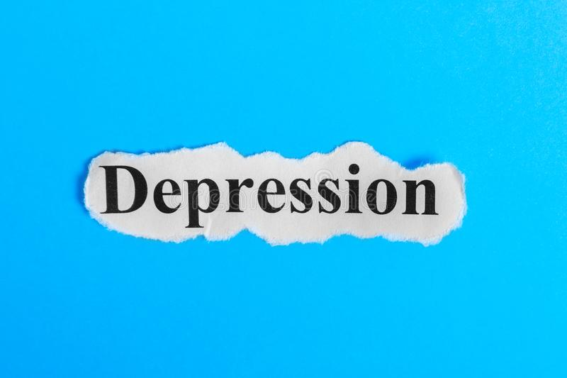 Depression text on paper. Word Depression on a piece of paper. Concept Image. Depression Syndrome.  royalty free stock photo