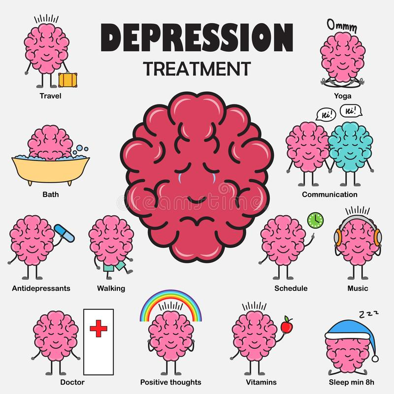 Depression treatment. Cartoon brain character stock illustration