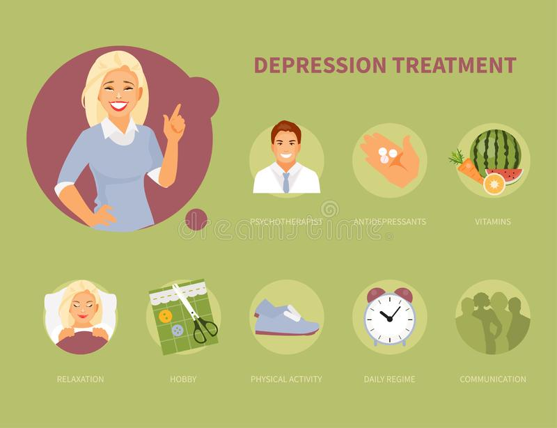 Depression treatment vector vector illustration
