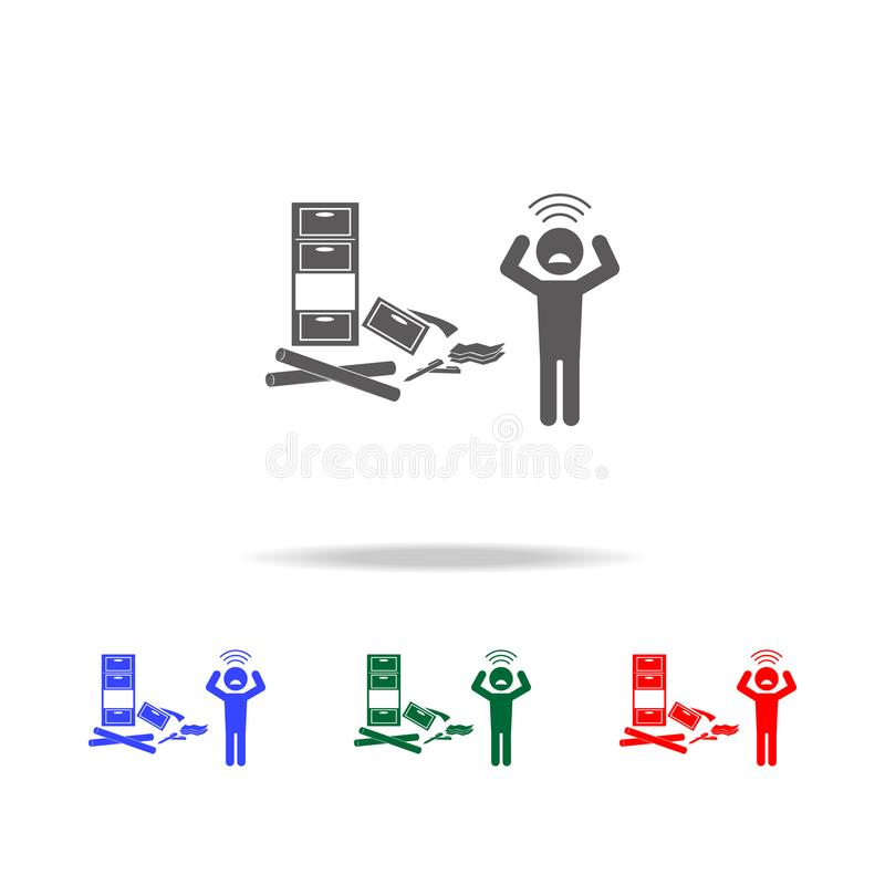 Depression at work icon. Elements of psychological disorder in multi colored icons. Premium quality graphic design icon. Simple ic. On for websites, web design stock illustration