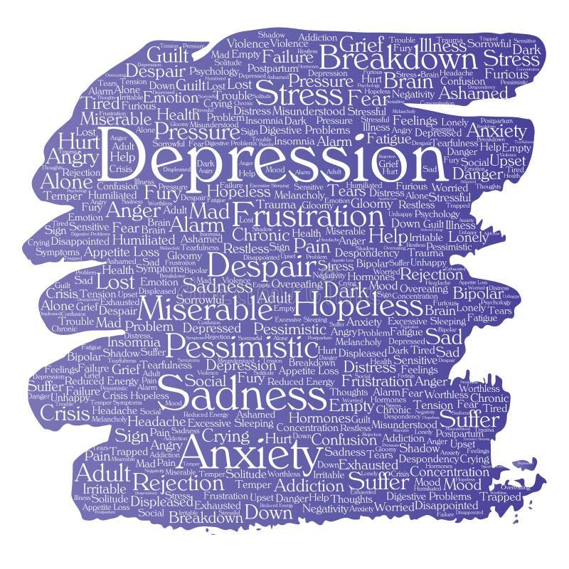 Depressione di vettore o nuvola mentale di parola di disturbo psichico illustrazione vettoriale