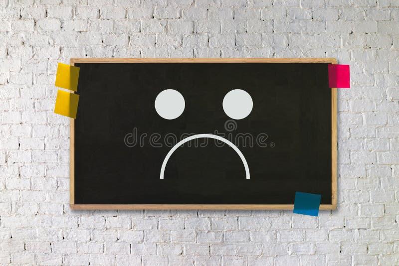 Depressive emoci pojęcie, smiley twarzy emoticon drukował depr royalty ilustracja