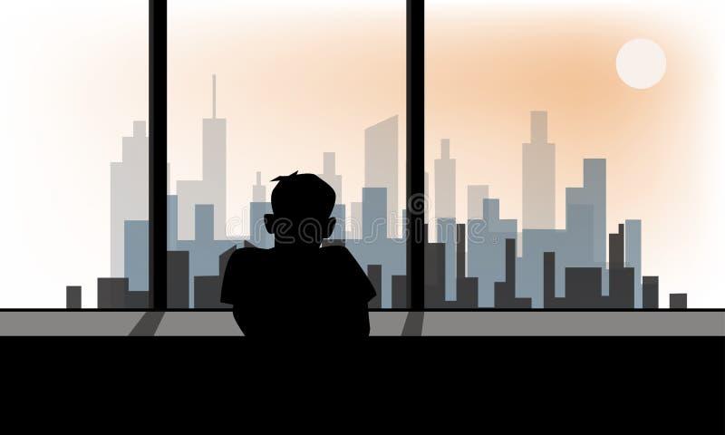 Depressive nieład, spęczenie lub odczucie osamotneni, royalty ilustracja