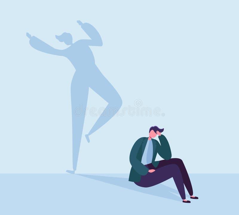 Deprimerad affärsman med lycklig skugga Manligt tecken med konturn av att dansa mannen Fördjupning spänning, frustration vektor illustrationer
