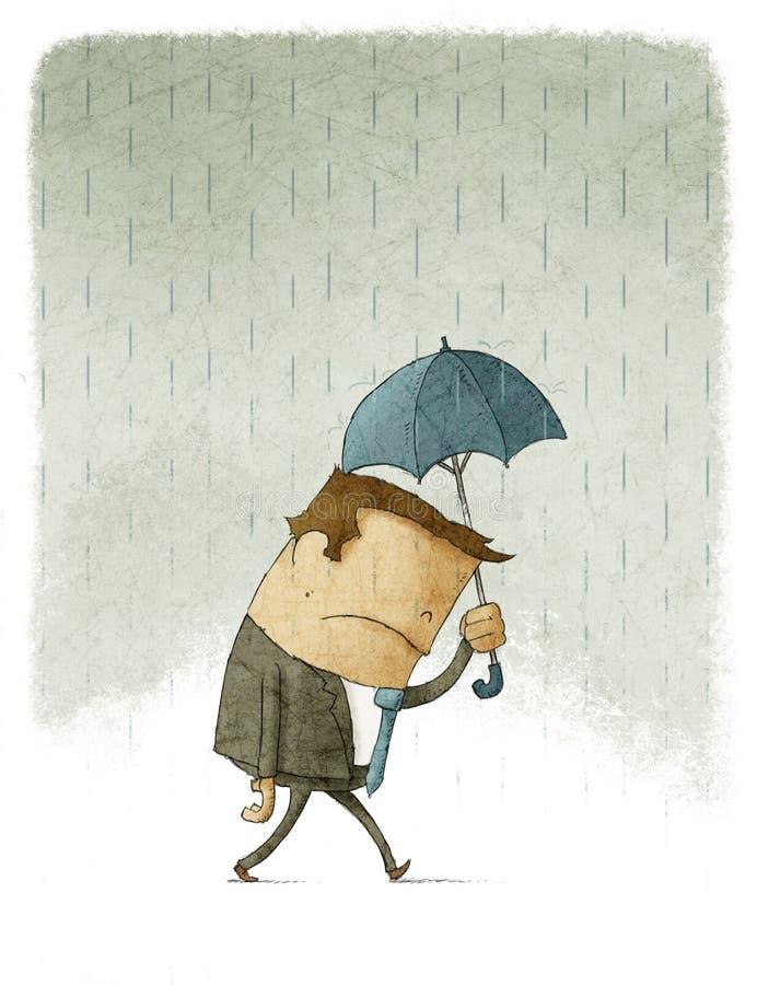 Deprimerad affärsman och regn vektor illustrationer