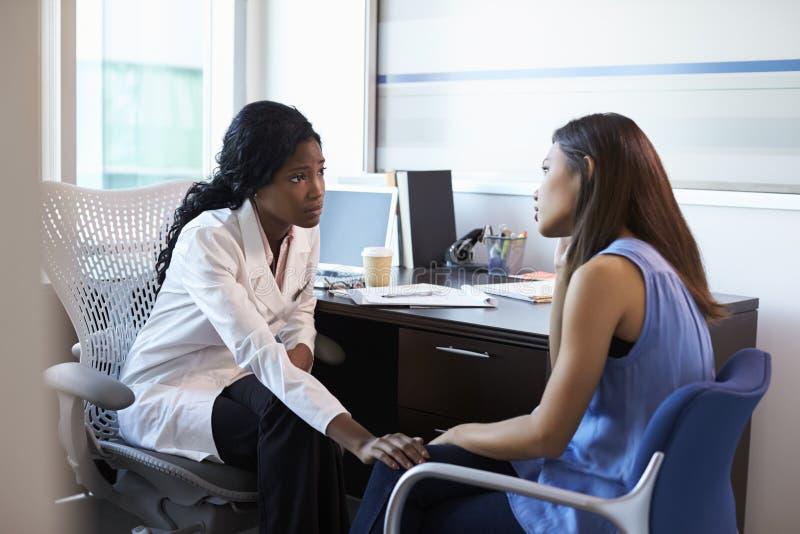 Deprimerad kvinnlig patient för doktor In Consultation With royaltyfria bilder