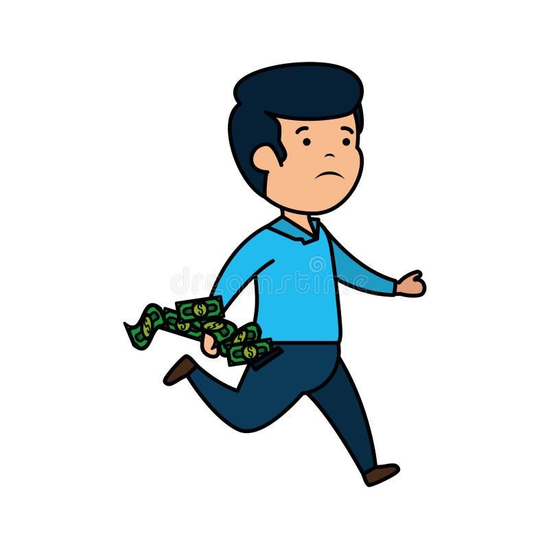 Deprimerad man för pengar med räkningdollar vektor illustrationer