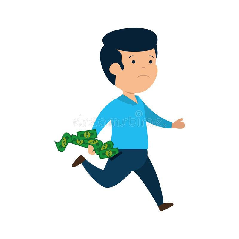 Deprimerad man för pengar med räkningdollar stock illustrationer