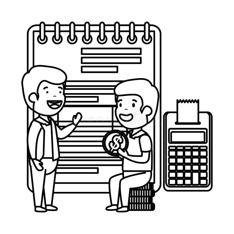 Deprimerade män för pengar med notepaden och räknemaskinen stock illustrationer