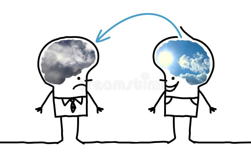 Deprimerande stora Brain Man - som är optimistisk och vektor illustrationer