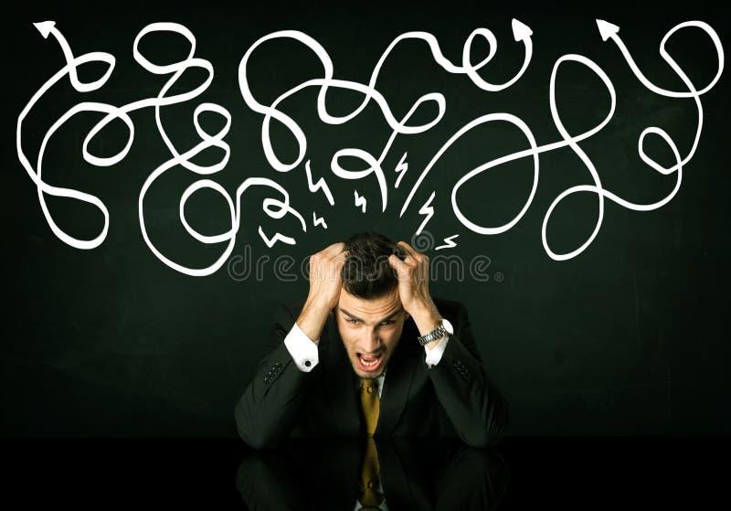 Download Deprimerat Affärsmansammanträde Under Utdragna Riktningslinjer Fotografering för Bildbyråer - Bild av manlig, huvud: 78730355