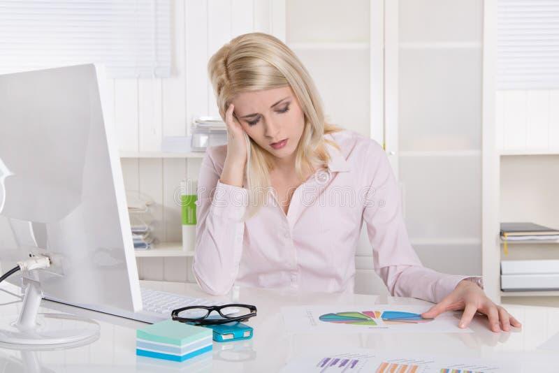 Deprimerat och frustrerat ungt affärskvinnasammanträde på skrivbordintelligens royaltyfri fotografi