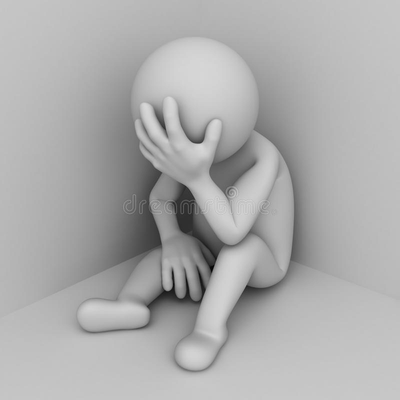 Deprimerat sammanträde för man 3d i hörn royaltyfri illustrationer