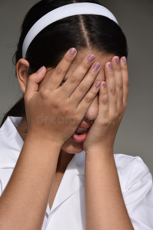 Deprimierte kolumbianische Frau stockfoto