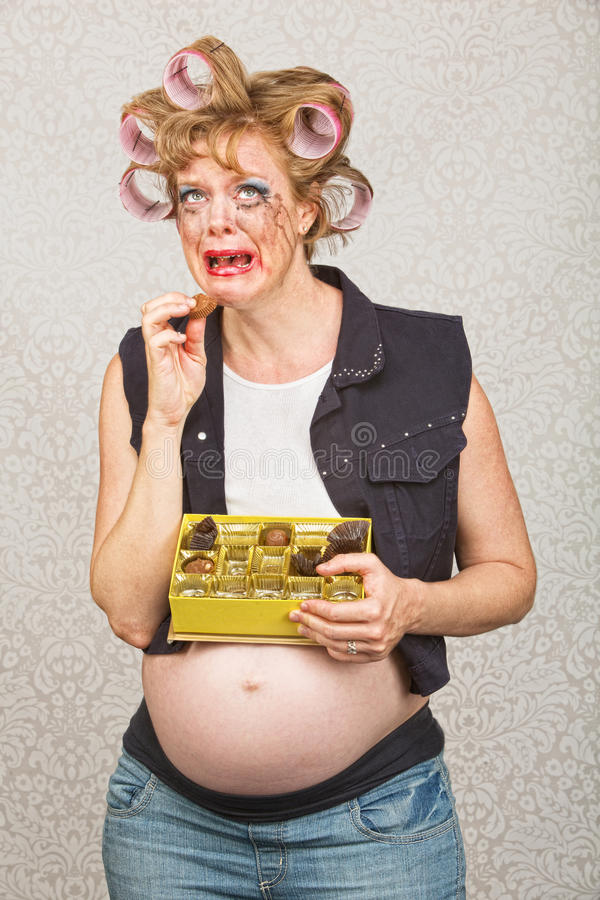 Deprimierte schwangere Frau stockbilder