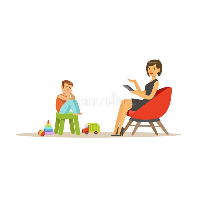 Deprimierter Junge, der mit dem Kinderpsychologen über Probleme, Psychotherapie beraten, Psychologe hat Sitzung mit spricht vektor abbildung